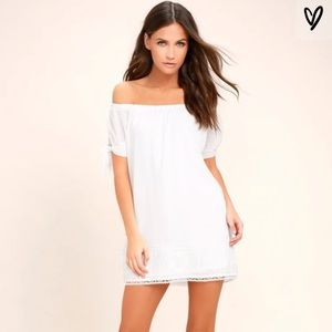 Lulu's Moment in the Sun Lace Off Shoulder Dress